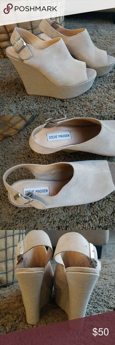 Steve Madden Beige Suede Wedge Heels 9 Worn once around the house...never worn outside. Excellent, like new condition!! Size 9. Silver buckle. The heel height is about 5 1/2 inches tall. Super sexy and they go with anything. Comes from a smoke and pet free home. Steve Madden Shoes Wedges