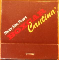 Nancy Allen Rose's Boxcar Cantina #matchbook To order your business' own branded #matchbooks and #matchboxes, go to www.GetMatches.com or call 800.605.7331 today!