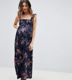 38f0cd0516a4 Asos Maternity Asos Design Maternity Ruffle Strap Shirred Maxi Sundress In  Floral Print. Carly Susanne · Maternity Wedding Guest Dress