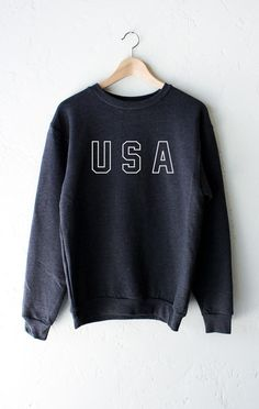 "- Description Details: Get cozy in our soft oversized dark heather grey sweater with print 'USA'. Unisex, oversized/loose fit. Measuerements: (Size Guide) XS/S: 38"" bust, 27"" length, 25"" sleeve length"
