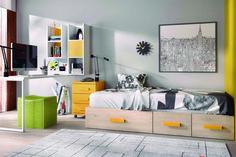 Cama nido con sistema block para hacer una cama nido para colchón de 90x190 cm, uniendo 3 elementos de cajones con guías. Acabado en tonos madera claros y tirador alargado en color mostaza. Disponible en más colores.