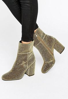 Steve Madden Goldie Gold Sock Heeled Ankle Boots, £90 ASOS