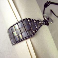 Leather Wrap Cuff Bracelet, Silver Japanese Tila Beads, button closure - Little Peeps Emporium