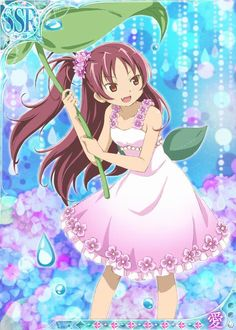 Mobage 〖 Puella Magi Madoka Magica Mahou Shoujo Maho Shojo Kyoko Kyouko Sakura flowers leaf water drops pretty 〗