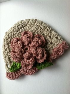 Crochet Baby Hats Crochet Baby Hat with Flower Cream and Rose by LakeviewCotta... Check more at https://www.newbornbabystuff.com/crochet-baby-hats-crochet-baby-hat-with-flower-cream-and-rose-by-lakeviewcotta/