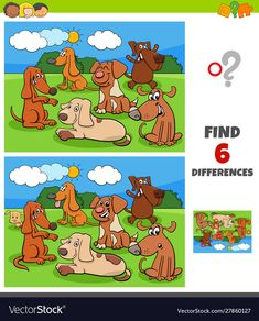 Cartoon Illustration of Finding Differences Between Pictures Educational Game for Children with Happy Dogs and Puppies Animal Characters , Printable Games For Kids, Fun Games For Kids, Worksheets For Kids, Activities For Kids, Free Printables, Spot The Difference Kids, Find The Difference Pictures, Find The Differences Games, Educational Games For Preschoolers