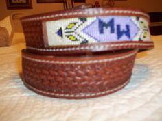 Leather beaded belt by Deesbeadeddogcollars on Etsy,