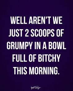 """""""Well aren't we just 2 scoops of grumpy in a bowl full of bitchy this morning."""""""