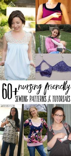 Looking for nursing sewing patterns? Here's a list of over 60 PDF sewing patterns that are breastfeeding friendly and nursing friendly sewing tutorials! Lots of these cross over to be maternity sewing patterns too. #sewing #nursing #breastfeeding #pdfpatterns
