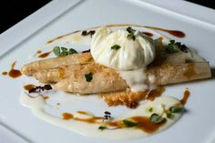 Buratta with white asparagus. ..wonderful combination.