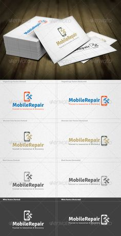 Mobile Repair Logo #GraphicRiver Mobile Repair Logo is a designed for Any types of companies. It is made by simple shapes Although looks very professional. The final file includes 8 variations of the Logo. Featured: Unique Slogan AI CS3 Document EPS CS & v10 Document PDF Document CMYK – 100 % Vector (Re-sizable) 8 Variations (Color, B/W & Inverts) The free fonts used in the design are: Signika Which can be downloaded here - .google /webfonts/specimen/Signika Created: 22May13…