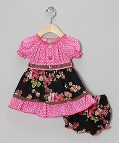 Take a look at this Pink & Black Polka Dot Floral Peasant Dress & Bloomers - Infant by Lele Vintage on #zulily today!