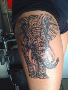 Cute Elephant Tattoo for Women Thigh 99