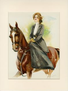 An illustration of an America's Gilded Age fashioned lady, riding horseback - side saddle, Artist/illustrator: Maud Stumm. Horse Riding Fashion, Fashion Wall Art, Horse Photos, Antique Prints, Horse Art, Beauty Art, Horseback Riding, Beautiful Horses, Vintage Art