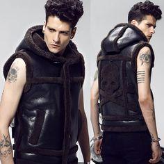Men Black Sheepskin Leather Lamb Fur Skull Hooded Emo Punk Vest Clothing SKU-116294