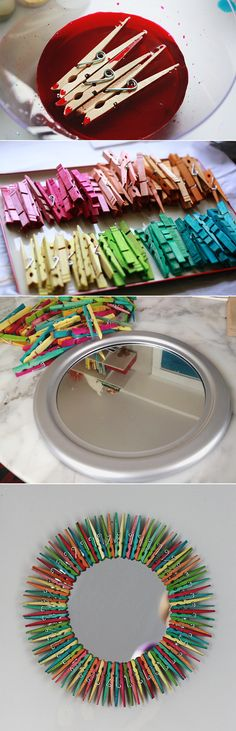Two Tone Clothespin Mirror - although I'd like to make a front door wreath like this.
