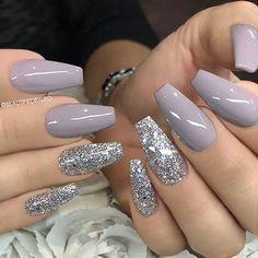 Fantastic Nail Designs #nailart #naildesign #nailideas Acrylic Nails Natural, Fall Acrylic Nails, Acrylic Nail Designs, Nail Art Designs, Nails Design, Neutral Nails, Gray Nails, Beautiful Nail Designs, Coffin Nails