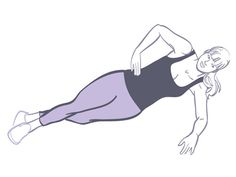 Minute 10: Side plank  Lie on your left side with your right foot directly in front of your left, left elbow on the floor straight down from your shoulder, palm flat on the floor. Put your right hand on your hip. Then lift your hips, as shown, and hold for 20 to 30 seconds. Lower hips back to the floor and switch sides.
