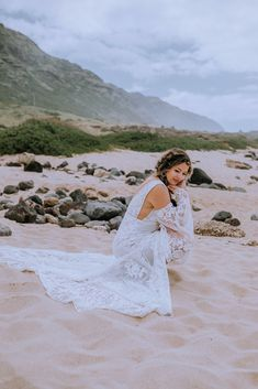 The most beautiful Hawaii Bride in flowy lace wedding dress at Dillingham Ranch Hawaii Wedding Venue. Loved the v-neck line on this romantic wedding dress. Browse the blog to see more from the wedding day including, beach bridal makeup, beach bride inspo and more - Oahu Wedding Photographer Anela Benavides Whimsical Wedding Inspiration, Elopement Inspiration, Maui Wedding Photographer, Bridal Session, Bridal Hair And Makeup, Groom Style, Hawaii Wedding, Elopements, Oahu
