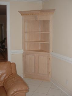 using kitchen cabinets in the bathroom for storage | Corner Cabinet Bookcase.gif - 22962 Bytes