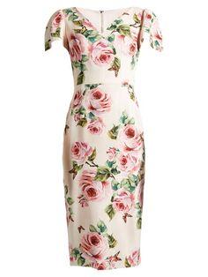 Rose-print V-neck stretch-cady dress | Dolce & Gabbana