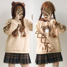 Cute kawaii cartoon bear hoodie pullover Use copon code for off Harajuku Fashion, Kawaii Fashion, Cute Fashion, Kids Fashion, Kawaii Dress, Kawaii Clothes, Kawaii Outfit, Japanese Trends, Looks Kawaii