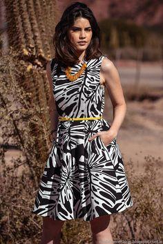 Otro vestido con estampa de inspiración tropical, en clásica combinación Blanco/negro. Colección Markova, Moda primavera verano 2015.