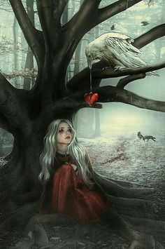 not exactly my type of digital art, but I like if because it looks like the bird is giving the girl's heart back to her - related topics: heartbreak illustration Dark Fantasy Art, Fantasy Kunst, Dark Art, Dark Gothic Art, Gothic Artwork, Art And Illustration, Illustrations Posters, Art Noir, Arte Obscura