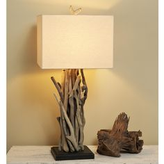 Driftwood Cluster Table Lamp $339. Must figure out how to make one