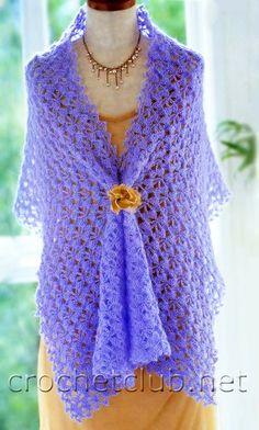 Палантин сиреневого цвета - Вязание Крючком. Блог Настика. Схемы, узоры, уроки бесплатно