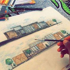 Freehand Views by - Site Today Architecture Concept Drawings, Architecture Sketchbook, Architecture Portfolio, Architecture Design, Interior Design Sketches, Sketch Design, Kindergarten Design, Plan Sketch, Architecture Presentation Board