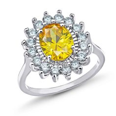 Sevil 3.5ctw Rhodium Ptd 10X8MM Spike Citrine Oval Gemstone & CZ Ring... ($14) ❤ liked on Polyvore featuring jewelry, rings, jewelry & watches, yellow, yellow cubic zirconia ring, oval gemstone ring, yellow ring, oval rings and brass ring