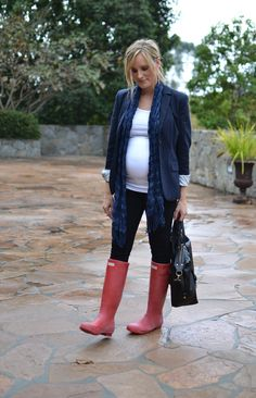 casual glamorous: Maternity Style...hunter boots , scarf and blazer.. Yeah this is cute if your feet aren't each the size of bread loaves...