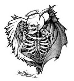 Angel devil skeleton tattoo. I have this tattoo. Love it.