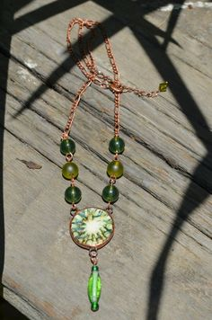 Earthy Green Ceramic Necklace Vintage Glass by BayouGlassArts, $52.00