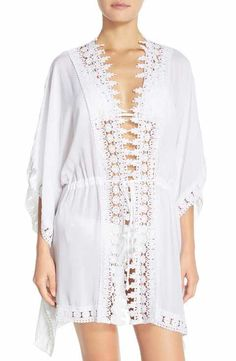 f3c6d7083d La Blanca 'Costa Brava' Crochet Cover-Up Kimono Swim Cover, One Piece