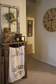 Prim Decor from a fine farmhouse - love that clock