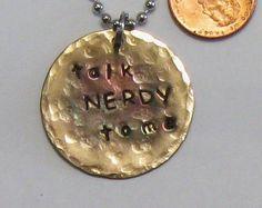 Nerd key chain talk nerdy to me geek gift idea distressed #maggiemaybecrafty #handstamped