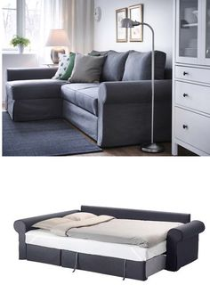 Backabro Cover For Sofa Bed With Chaise, Svanby Gray