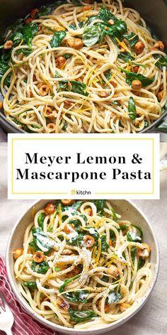 Spaghetti with Mascarpone, Meyer Lemon, Spinach, and Hazelnuts   Kitchn