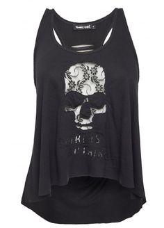 Punkyfish Cut Out Skull Lace Vest, £21.99