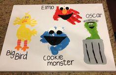 Sesame Street handprint/footprint painting feat. Big Bird, Oscar, Elmo and Cookie Monster