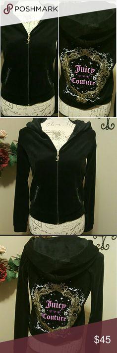 Juicy Couture Velour Hoodie Black velour hoodie by Juicy Couture. Size XL. Juicy Couture Tops Sweatshirts & Hoodies