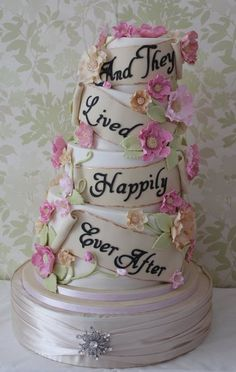 "Topsy turvy ""And They Lived Happily ever After"" wedding cake"