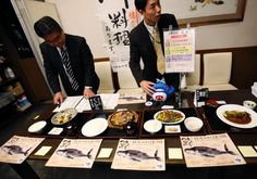 Japanese ministry of Fisheries at their Whale Meat Tasting in Tokyo November 19, 2014. Japanese government officials lunched on whale meat on Wednesday in a bid to promote Japan's new plan to resume whale hunting in the Southern Ocean, ruled out once by the International Court of Justice (ICI) earlier this year. Japan on Tuesday unveiled plans to resume whale hunting in the Southern Ocean.