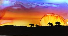 Wandering on the Serengeti in alcohol ink by me, Laurie Henry copyright 2013.