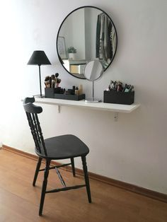 Image result for mirror vanity with shelf