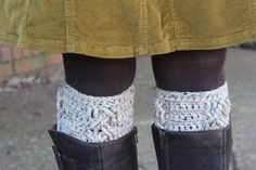 A classic cable crochet pattern for your new boot cuffs - Crochet PATTERN by Little Monkey's Designs.