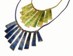 Collar flecos de cobre esmaltado accesorio mujer por Cuprita, $35.00