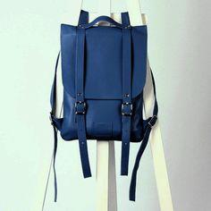 Blue/navy leather backpack rucksack / To order
